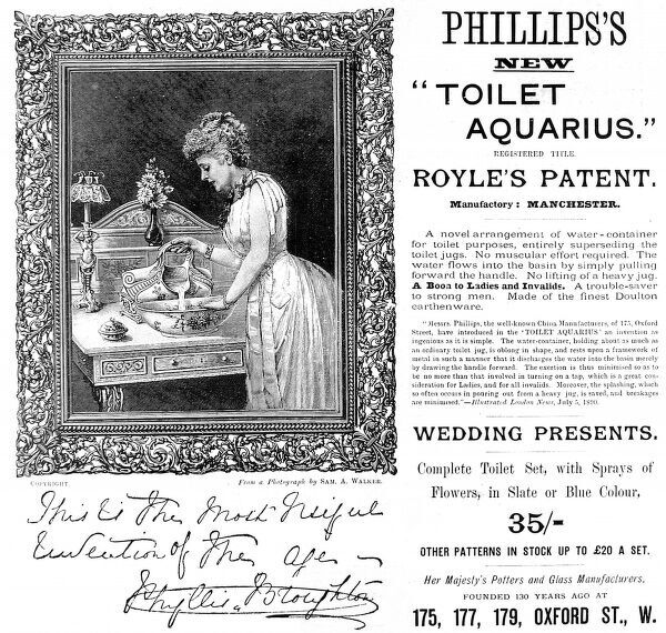 An advertisement from 1891 for Phillips's 'Toilet Aquarius', a new water container for wash stands where '...no muscular effort required. The water flows into the basin by simply pulling forward the handle. No lifting of a heavy jug