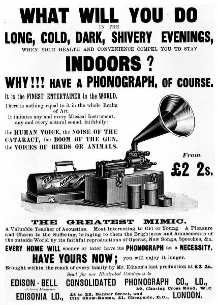 Advertisement for the home phonograph from the Edison-Bell Consolidated Phonograph Co. Ltd