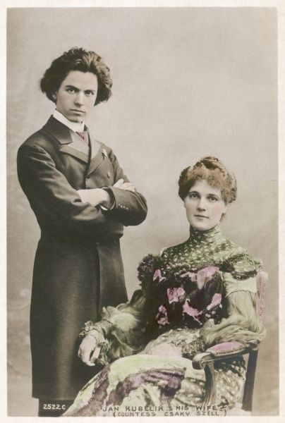 JAN KUBELIK Violinist. Father of conductor Rafael Kubelik. Photographed with his wife Countess Csaky Szell