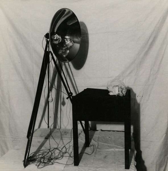 Undated photograph of the automatic electric photographic apparatus used in the Rudi Schneider experiments. This is one of series of photographs documenting Harry Price's investigations into the mediumistic abilities of the brothers Rudi