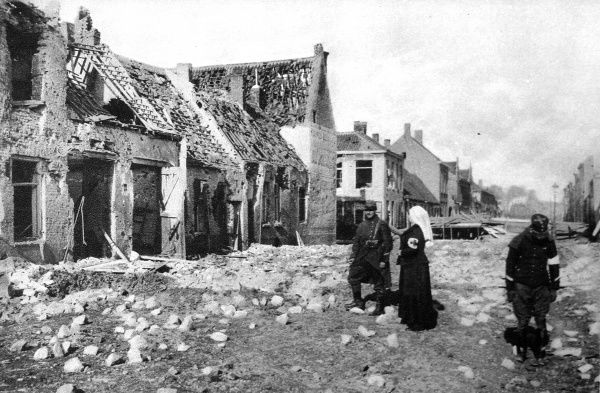 Photographed during the fierce German bombardment of the town: A ruined street in Nieuport