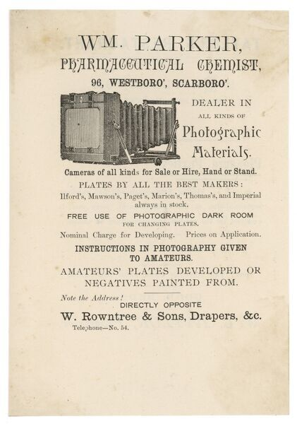 Advert for William Parker, Pharmaceutical Chemist and dealer in all kinds of Photographic Materials