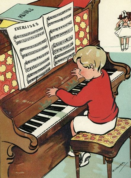 A small boy sits at a piano and practises his scales conscientiously