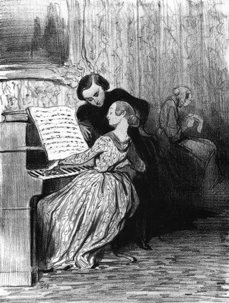 A student of the piano performs as a man looks on-is he her teacher? Date: c.1860