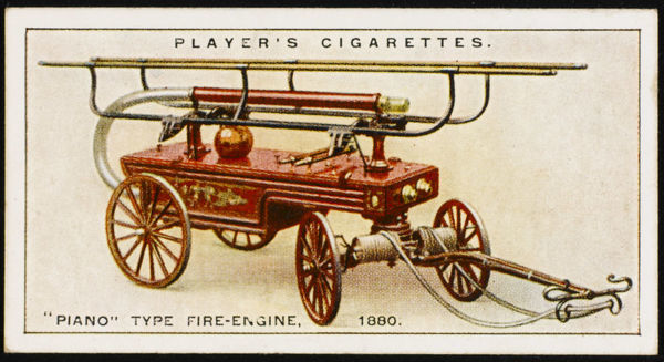 Piano type manual fire-engine, named after a resemblance of the shape of the bodywork to that instrument. Nozzles and branch-pipes were carried on brackets on the main frame