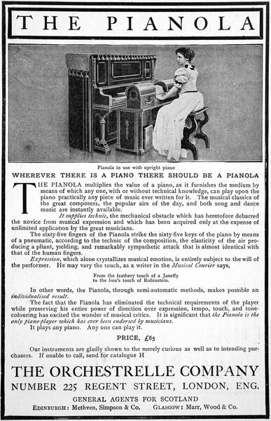 Advertisement for the Pianola, the automatic piano-player from the Orchestrelle Company of Regent Street