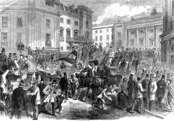 Engraving showing the crowded scene in Piccadilly Circus, London, on the morning of Derby Day in 1866. The image shows a large number of horse-drawn carriages, picking up passengers and setting out for Epsom to watch the afternoon's racing