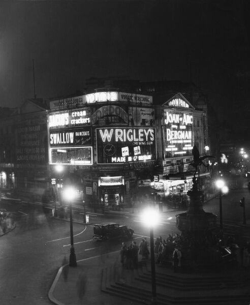 Piccadilly Circus and the Statue of Eros at night