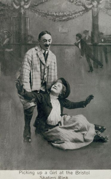 Picking up a girl at the Bristol skating rink -- a woman has slipped on the ice, and a man takes the opportunity to pick her up. She seems pleased, but he looks like a typical villain! Date: early 20th century
