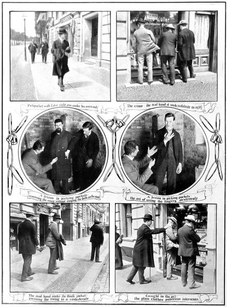 Lessons on how to pickpocket. A gang of pickpockets plagued Berlin in 1906, using old techniques to steal from members of the public