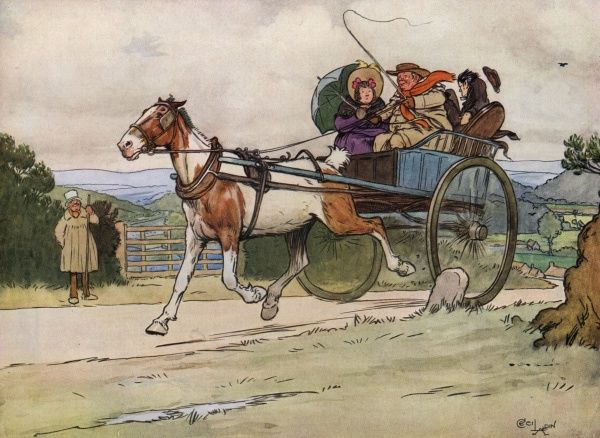 I drove the old piebald, episode from The posthumous papers of the Pickwick club, by Charles Dickens, Illustrated by Cecil Aldin (1870-1935),, Date: 1910