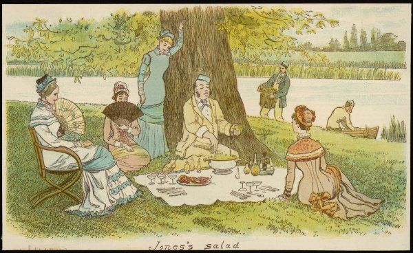 A group of young ladies and gentlemen on a picnic by a river