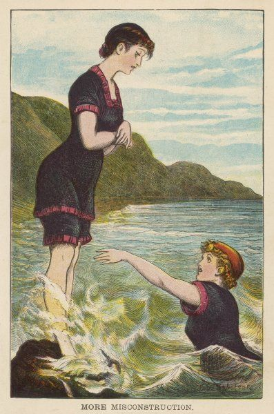 Two swimmers in the two-piece short-sleeve bathing costume of the day. The short knickers are quite revealing compared with the long dresses of contemporary fashion