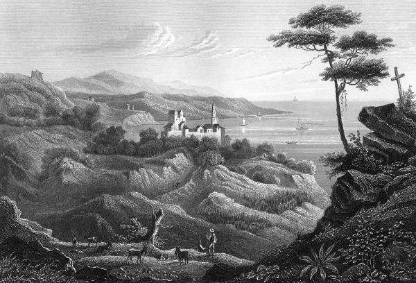 This is Mortole, not mentioned in any of our reference books or on the internet, but it's a fine view of the coast of northern Italy. Date: 1850