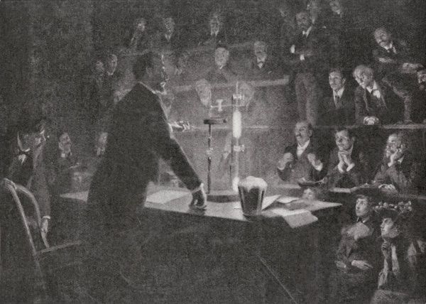 PIERRE CURIE explains their findings at the Sorbonne, Paris