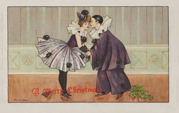 Pierrot and Pierrette kiss with mistletoe by their feet, at Christmas