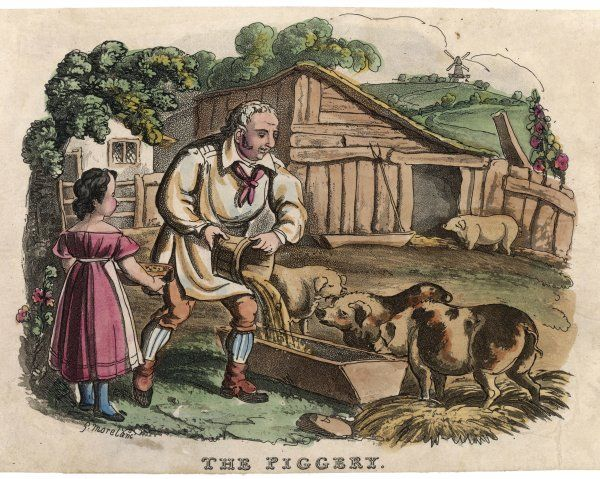 Feeding time in the piggery - a pig-farmer in his smock is helped by his daughter in her pinafore