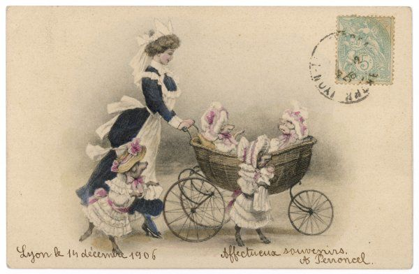 A group of pigs dressed as children with their pram and nanny