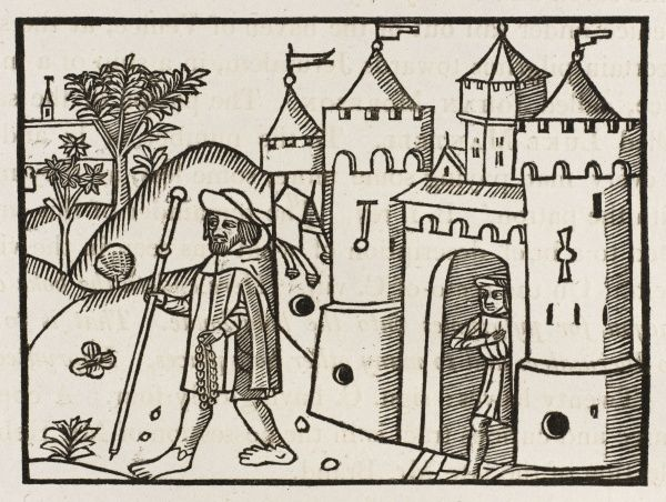 A pilgrim, barefoot and carrying his beads, sets forth on his pilgrimage - illustration to Wynkyn de Worde's 'The Way to the Holy Lande', published in 1500