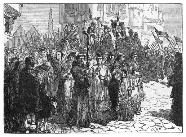 The Pilgrimage of Grace, a rising of Roman Catholics in N.England. It protest against government abolition of papal supremacy and confiscation of smaller monastic properties