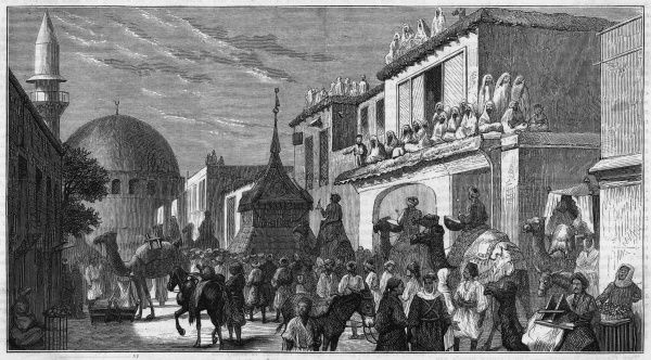 Pilgrims leaving Damascus for Mecca : the procession of the 'Mahwal' with the Holy Carpet
