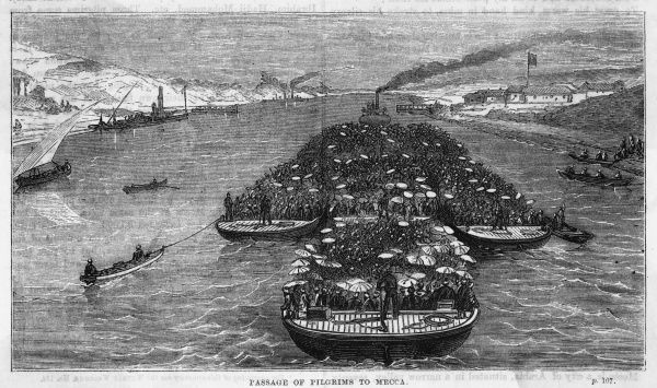 Mecca pilgrims travel by boat from Egypt to Arabia on the Red Sea