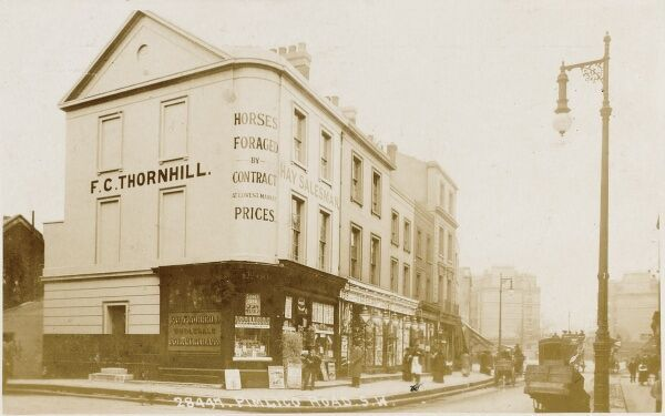 F.C. Thornhill - 'Horses Foraged by Contract' on the corner of Pimlico Road, Pimlico, London, now the site of David Linley's Furniture shop