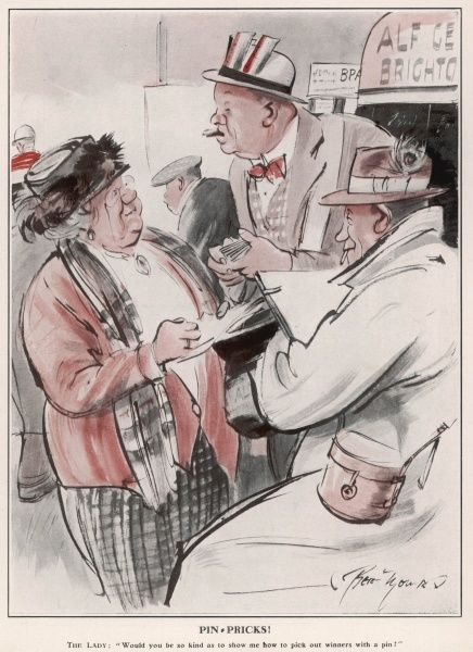 The Lady: 'Would you be so kind as to show me how to pick out winners with a pin?' This cartoon was specially drawn for The Sketch by Bert Thomas