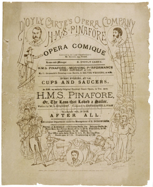 Cover of the programme for the original production, incorporating portraits of Mr Gilbert and Mr Sullivan, also Mr D'Oyly Carte