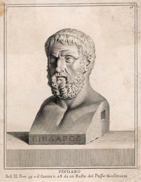 PINDAR - Greek lyric poet (author of 'Odes of Victory' and many others) Date: circa 522 - 438 BC