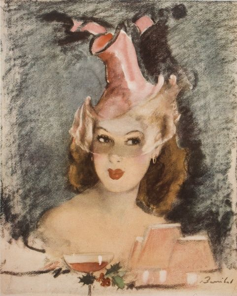 Glamorous portrait of a young woman wearing a veiled jaunty pink hat, with pink champagne in the foreground