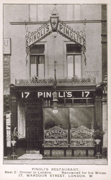 The exterior of Pinoli's Restaurant, London - the location of the foundation of the Magic Circle in 1905. Location was interestingly: 17 & 21 Wardour Street and 9 Rupert Street! Date: circa 1904
