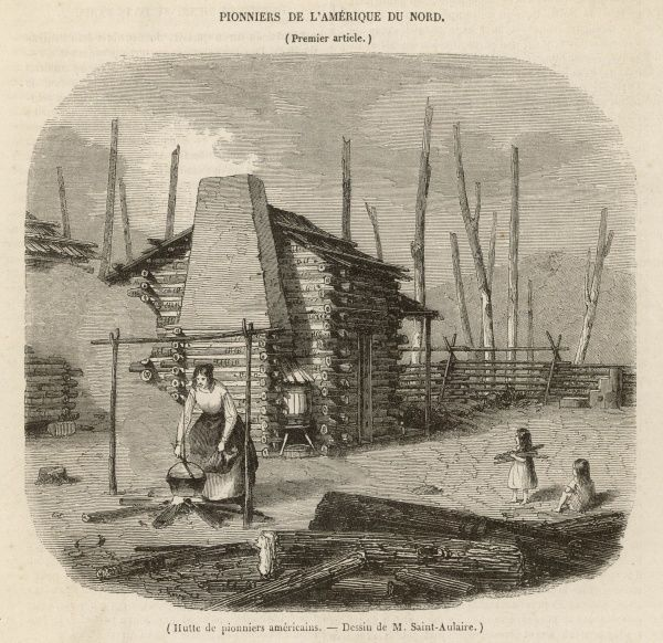 Pioneer settlers outside their log cabin. A woman cooks over a fire, watched by two children