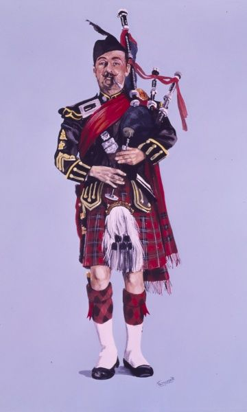 Pipe Major of the Queen's Own Highlanders (1961) in Full Dress. Formed by an amalgamation of the Seaforth and Camerons regiments. Painting by Malcolm Greensmith