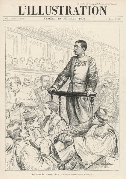 Lieutenant-colonel Picquart in court defending the innocence of Dreyfus
