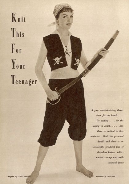 A gay, swashbuckling three-piece to knit for teenagers! The 1950s were a more innocent time