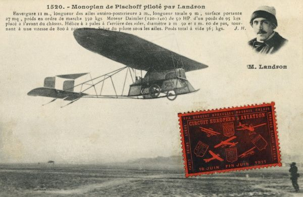 A far-sighted design from a notable pioneer, the pilot - in this case Landron - being seated comfortably beneath the wing Date: circa 1909