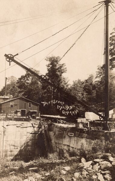 Pittsford 'Italian' Quarry, West Vermont. A marble and alabaster mine. Date: circa 1910