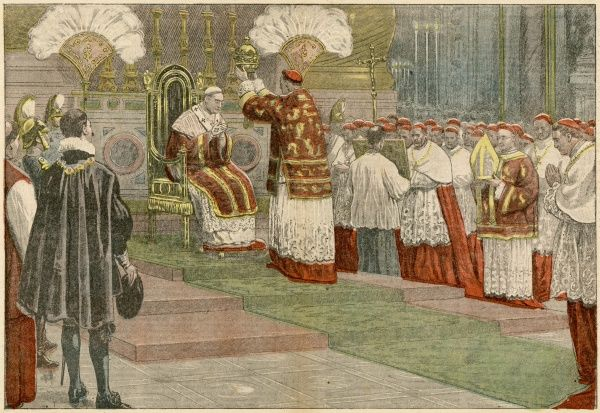 Pius XI is enthroned in Saint Peter's : cardinal Billot places the tiara on his head, while 60,000 spectators watch in wonder
