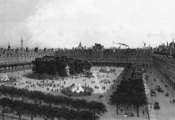 Originally known as the Place Royale, the Place des Vosges in Paris, France was built by French King Henri IV from 1605 to 1612. Date: 1861