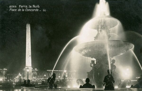A view of Place de la Concorde at Night