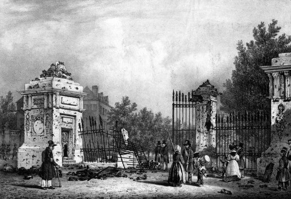 The entrance gates of the Place Royale, Paris, bear witness to the fierce street fighting - the gates thrown down, the stonework pitted with the marks of gunfire. Date: 23-26 July 1830