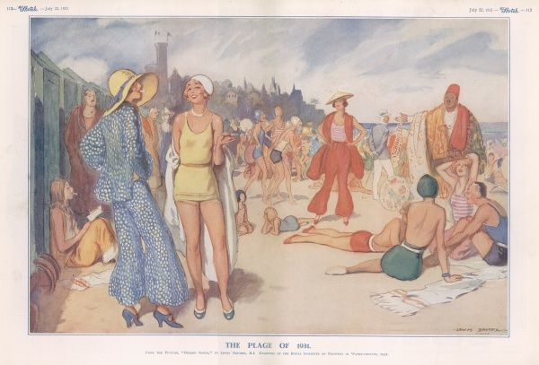 Riviera scene showing glamorous beach goers relaxing in the sun