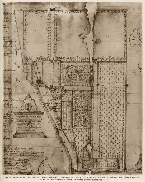A plan of John Evelyn's garden at Sayes Court, Deptford, shown looking south, which he occupied from 1652 to 1694