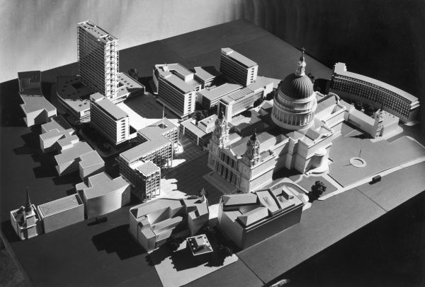 An architectural model of a plan for the redevelopment of Paternoster Square, alongside St. Pauls Cathedral. Architect - Sir W Halford. Photograph by Heinz Zinram