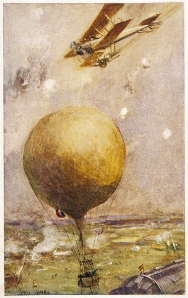 A British biplane attacks a balloon protecting an enemy airship shed near Ghent