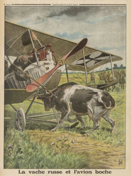 A German biplane, forced to land in Russian territory, is confronted by a hostile cow whose horns threaten the plane's fragile structure