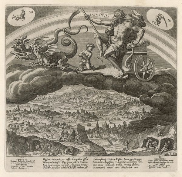 SATURN drives his chariot through the skies, drawn by a pair of dragons : miners dig in the earth, prophets and soothsayers, magicians and witches play their trades