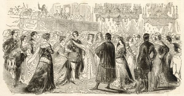 Queen Victoria and Prince Albert with assembled guests at the Plantagenet Ball, also called the Bal Masque, at Buckingham Palace in May 1842