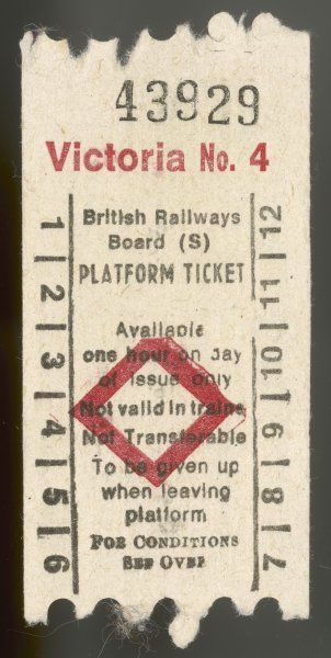 Platform ticket issued by British Rail at Victoria Station, London, entitling the purchaser to go onto the platform of their choice, but not to travel on a train